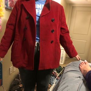 Red 3 button pea coat